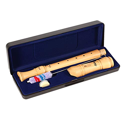 Eastar ERS-31BM Baroque Maple Wood Soprano Recorder Set C Key 3 Piece Instrument With Hard Case,Joint Grease,Fingering Chart And Cleaning Kit