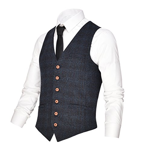 (VOBOOM Men's V-Neck Suit Vest Casual Slim Fit Dress 6 Button Vest Waistcoat (Blue, L))