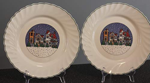 ARCOPAL Holiday Village Dinner Plates SET/2 RETIRED