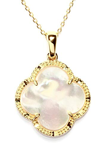 - Time 2 Shine Clover Shaped Necklaces (Clover Flower Mother of Pearl in Gold)