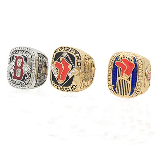 Mens Stainless Steel Diamond Red Sox The Year 2018 Boston World Baseball League Champion Championship Set Rings,with Box,Size 11
