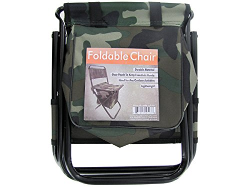 Bulk Buys Camping Portable Camouflage Foldable Chair With Zipper Gear Pouch Pack Of 4 ()
