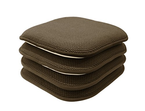 GoodGram 4 Pack Non Slip Honeycomb Premium Comfort Memory Foam Chair Pads/Cushions - Assorted Colors (Brown)