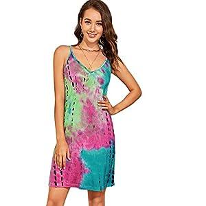 Romwe Women's Sleeveless V Neck Tie Dye Tunic Tops Casual Swing Tee Shirt Dress