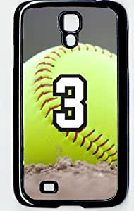 Softball Sports Fan Player Number 3 Decorative Black Rubber Samsung Galaxy S4 Case