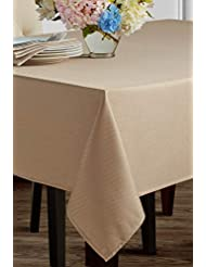 "Benson Mills Beauvalle Extra Wide Spillproof Tablecloth (68"" X 102"" Rectangular, Flax)"