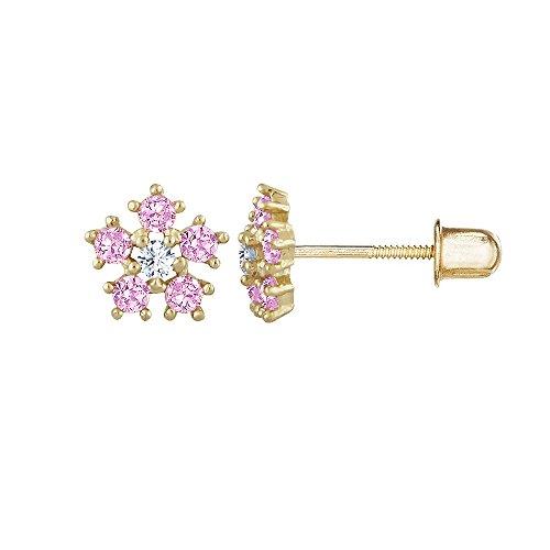 14kt Solid Gold Kids Flower Stud Screwback Earrings- Pink ()