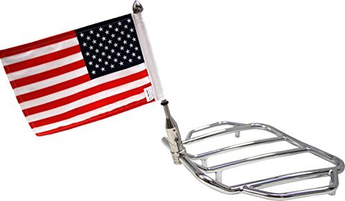 (Pro Pad RFM-FLD5 Rear Folding Motorcycle Flag Mount Tour Pack with USA Flag, Push-Button-to-Fold-Flag Mount Fits 5/8