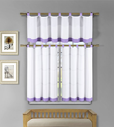 3 Piece White Kitchen Window Curtain Set: Check Design, 1 Valance, 2 Tiers (Lilac Purple) (And Curtains White Lilac)