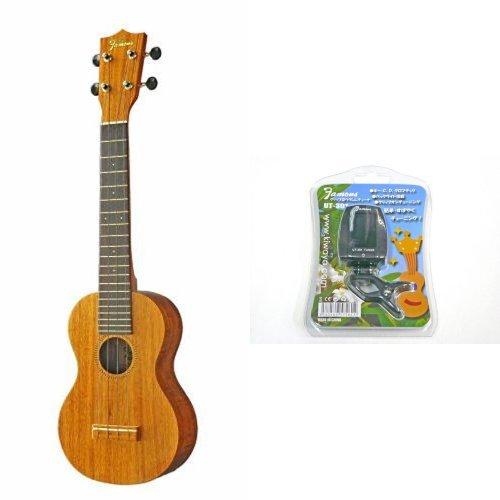 【 チューナーセット 】 Famous ukulele ( フェイマス ウクレレ ) FLS-2G ソプラノ ロングネック B01LXUHS4T