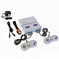 Gamerz Tek 16-Bit Entertainment System, SNES clone console, plays both North American and Japanese Super Nintendo games. Compatible with over 97% of American & Japanese games. Comes with two compatible with SNES style controllers, stereo ...