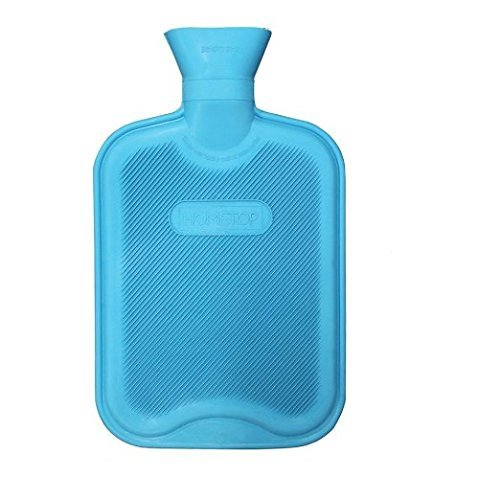 HomeTop Premium Classic Rubber Hot Water Bottle, Great for Pain Relief, Hot and Cold Therapy (2 Liters, Blue) (Water And Ice Bottle Hot)
