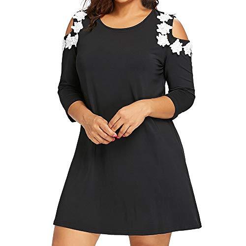 - AMOFINY Women Solid Applique Strapless Three Quarter Sleeve Mini Dress Plus Size (Black, 5XL)