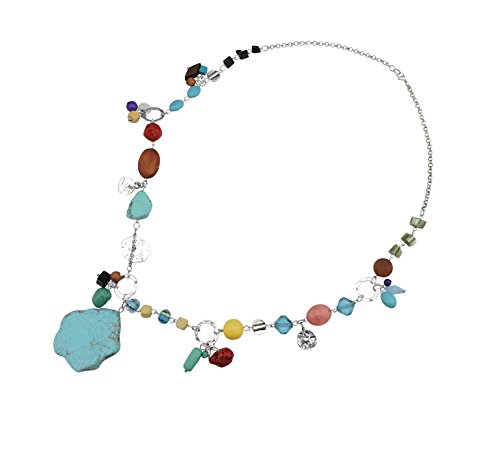 Bocar Personalized Long Antique Silver Chain Turquoise Pendant Glaze Necklace for Women Gifts (296) ()