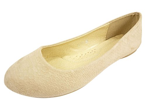 Ballerinas Velours Schuhe Damen Casual Motiv Ecailles Beige - Beige