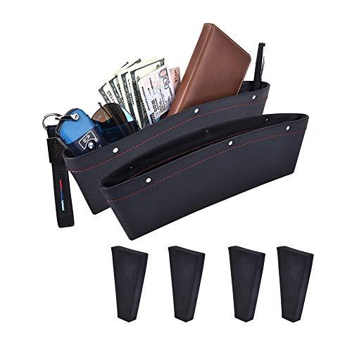ALAVISXF - Organizador universal de piel para asiento de coche, con 4 espaciadores entre asientos, para guardar llaves, monedas, teléfono, tarjetas, bolígrafos, M, Negro