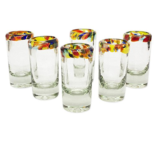 NOVICA 228620 'Confetti' Blown Tequila Shot Glasses Set of 6