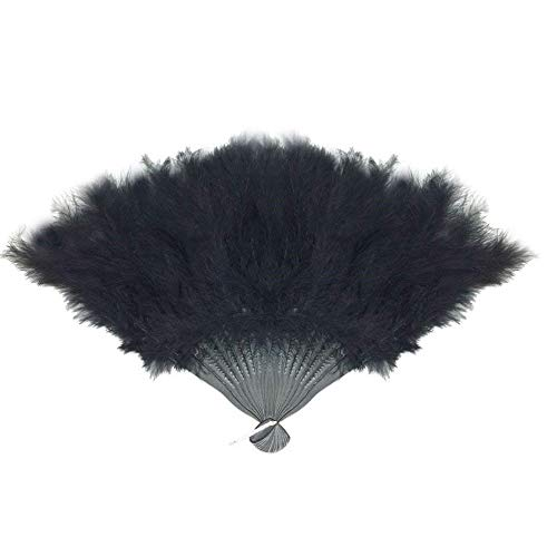 SACASUSA Feather Hand Folding Fan Dance, Decoration, Halloween costume15x9.5inch (Black)