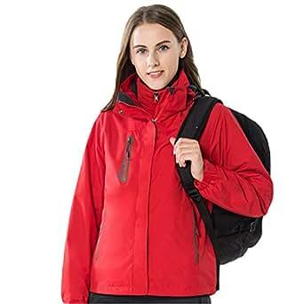 Dnstar Women's 3 in 1 Winter jacket Waterproof with Hood Ski Jacket Red L