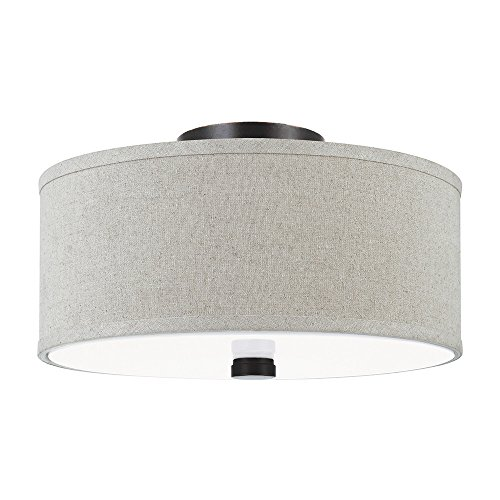 - Sea Gull Lighting 77262-710 Dayna Shade Pendant Two-Light Flush/Semi-Flush Convertible Ceiling Mount Light With White Acrylic Diffuser And Linen Fabric Shade, Burnt Sienna Finish
