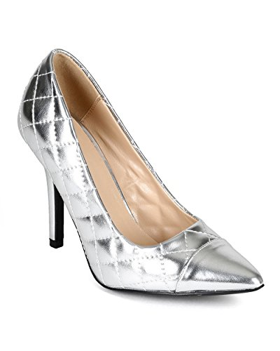 Women Metallic Leatherette Pointy Cap Toe Quilted Stiletto Pump CD09 - Silver (Size: 8.0)