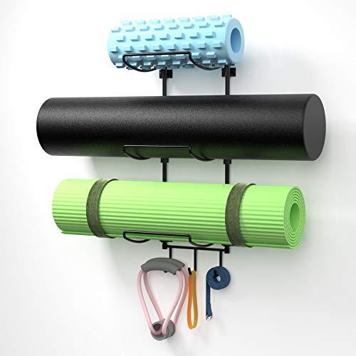 Suchek Yoga Mat Wall Holder Mount, Wall Rack Storage for Yoga Mat, Yoga Tiles, Foam Roller, Towel with 3 Hooks for…