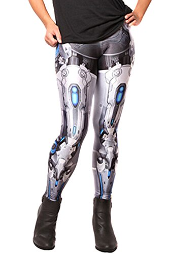 Ladies Mid Waist Metallic Robot's Legs Printed Party Costume Leggings Pants