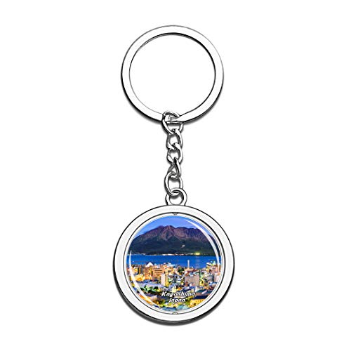 Kagoshima Japan Keychain 3D Crystal Spinning Round Stainless Steel Keychains Travel City Souvenir Key Chain - Japan Kagoshima