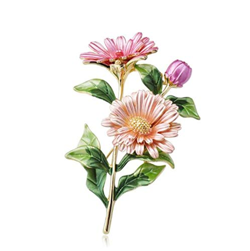 EatingBiting(R) Elegant Enamel Rhinestone Pink Chrysanthemum Flower Daisy Flora Brooch Pin Women Jewelry Brooches Pins Gift