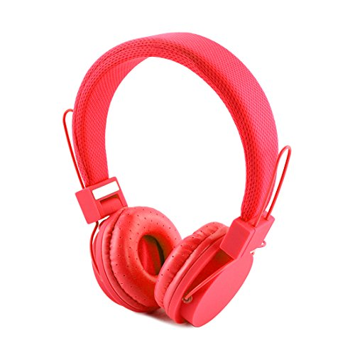 LinkIdea Women's On-Ear Headphones with Mic, Lightweight Foldable Headphone with Microphone, Sized to fit Women and Girls (Red)