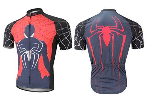 Cplus Sportware Men's Short Sleeve Spiderman Cycling Jersey Top L ()
