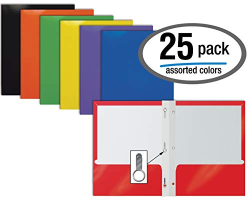 - 2 Pocket Glossy Laminated Paper Folders with Prongs, Assorted Colors, Letter Size, Paper Portfolios with 3 Metal Prong Fasteners, by Better Office Products, Box of 25-Assorted Colors (with prongs)