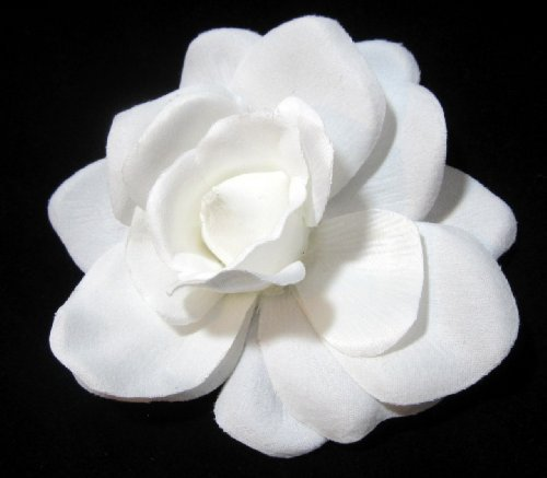 Bright White Velvet Gardenia Hair Clip by - Velvet Gardenia