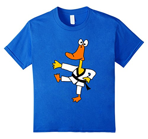 - Kids Cute duck Karate OR Taekwondo TSHIRTS for kung fu 10 Royal Blue