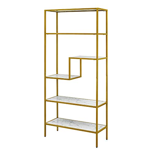 ROSEN Garden Bookshelf 5-Tier Bookcase, Storage Organizer Open Shelf, Modern Metal Frame and Faux Marble Furniture for Home Office Decor Display, White from ROSEN GARDEN