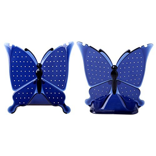 slowsilent 96 Holes Butterfly Shape Jewellery Earring Ear Studs Display Stand Holder Organizer Earring Rack (Blue)
