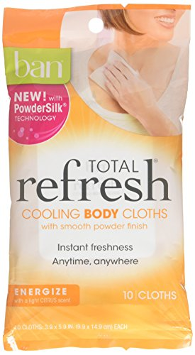 Ban Total Refresh Cooling Body Cloths 10 Count (Energize) (2 Pack)