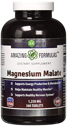 Amazing Nutrition Magnesium Malate - 1250 mg per serving, 360 Tablets - Supports Energy Production, Healthy Metabolism, Muscles Function & Nerve Function*