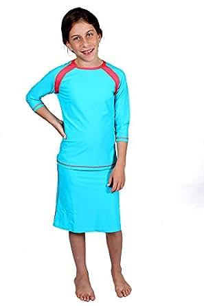 Amazon.com: HydroChic Girls 3/4 Sleeve Raglan Swim Top and