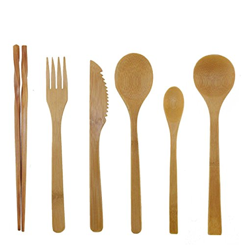 BambooMN Organic Reusable Bamboo Utensil Set 3 Spoons Fork Knife and Chopsticks - 2 Sets Deluxe Cutlery Set