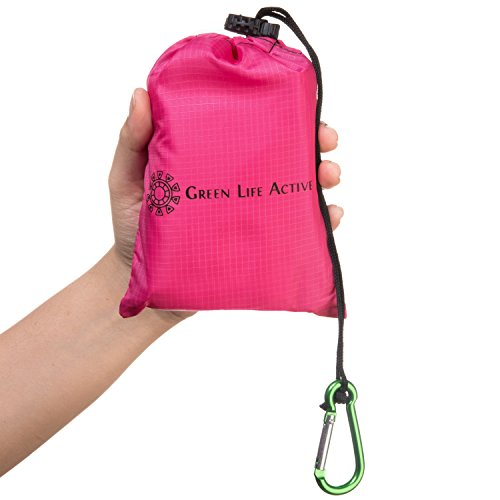 Green Life Active Waterproof Outdoor Picnic Beach Blanket Compact, Lightweight Tarp w/Corner Pockets, Tie Loops, Carrying Bag & Carabiner | Pink Blanket Motorcycle Christmas Lights