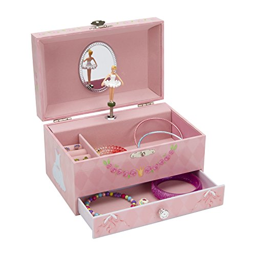 JewelKeeper Diamond Ballerina Music Jewelry Box with Pullout Drawer, Jewel Storage Case, Swan Lake Tune