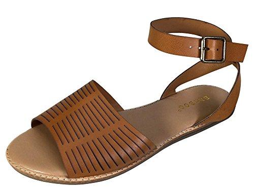 Bambus Kvinners Bredbåndet Flat Sandal Med Ankel Stropp Tan Pu