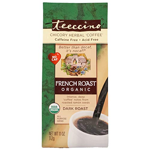 Teeccino French Roast Chicory Herbal Coffee - Organic Dark Roast Coffee Alternative, 11 -