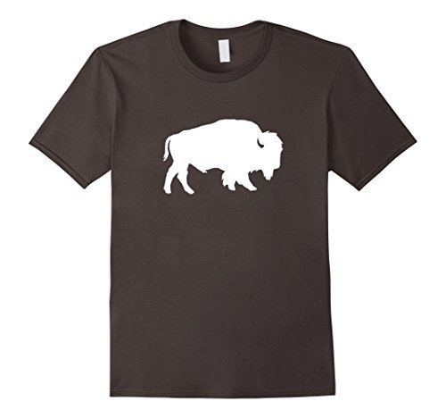 Men's White Buffalo Silhouette Shadow T-Shirt Small Asphalt
