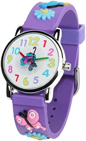Tonnier 3D Kids Watches Healthy Material Purple Rubber Band Children Watches Butterfly