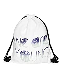 Drawstring Backpack Rucksack School Book Bags Gymbag We Are Young White [010]