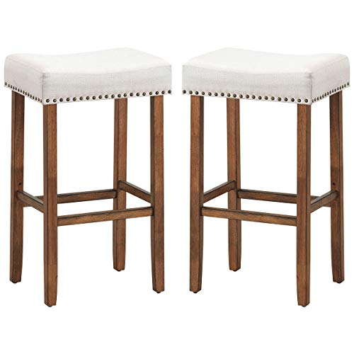 lunanice Office Bars Cafes Shop Home Kitchen Room 2 pcs Nailhead Saddle Bar Stools Size 17.5Lx13.5Wx29.5H inch Fabric Seat&Wood Legs Classic Brass Nailhead Decor Beige Weight Capacity 264lbs (Toledo Vintage Barstool)