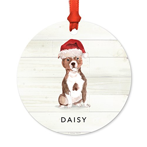 ized Animal Pet Dog Metal Christmas Ornament, Staffordshire Bull Terrier with Santa Hat, 1-Pack, Includes Ribbon and Gift Bag, Custom Name ()