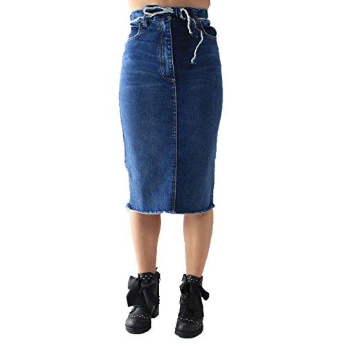 Falda Denim Azul Mujer Please Para blu 0HYq4g4